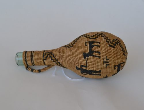 Hupa Area Basketry Woven Bottle C. 1900's 20's Bew#797