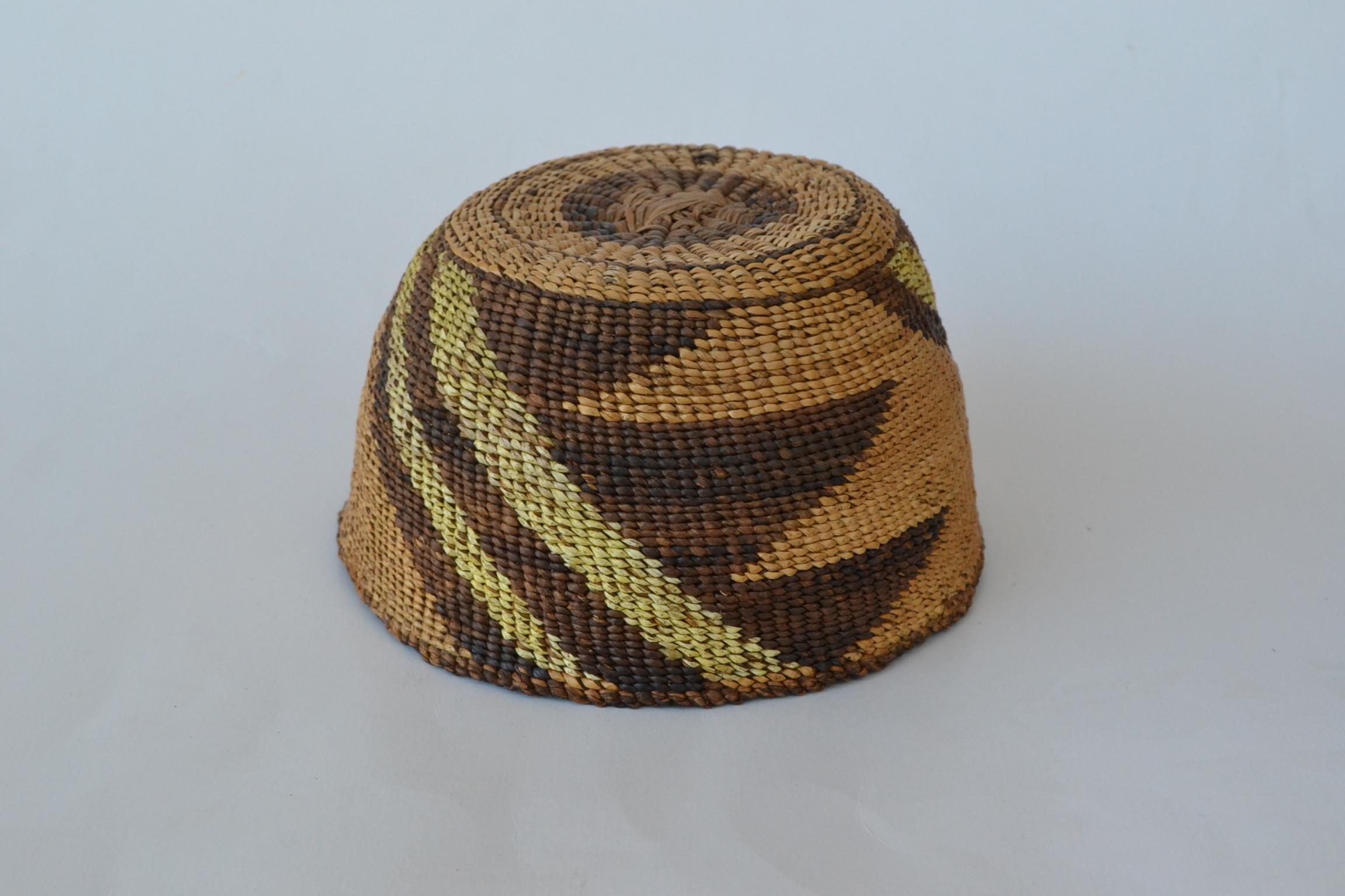 vintage native american indian hats klamath modoc child's woven hat