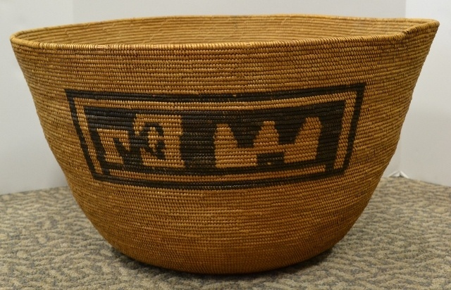 Giant 19th Century Mission Pictorial Basket With Castle and Church Bew#813