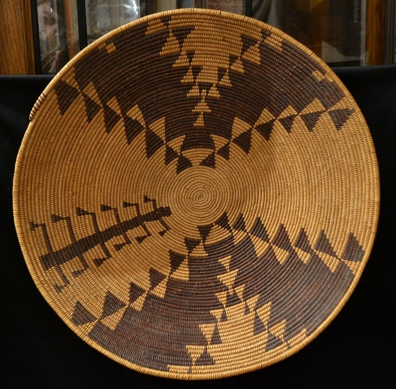 large antique native american basket tray maidu woven tray