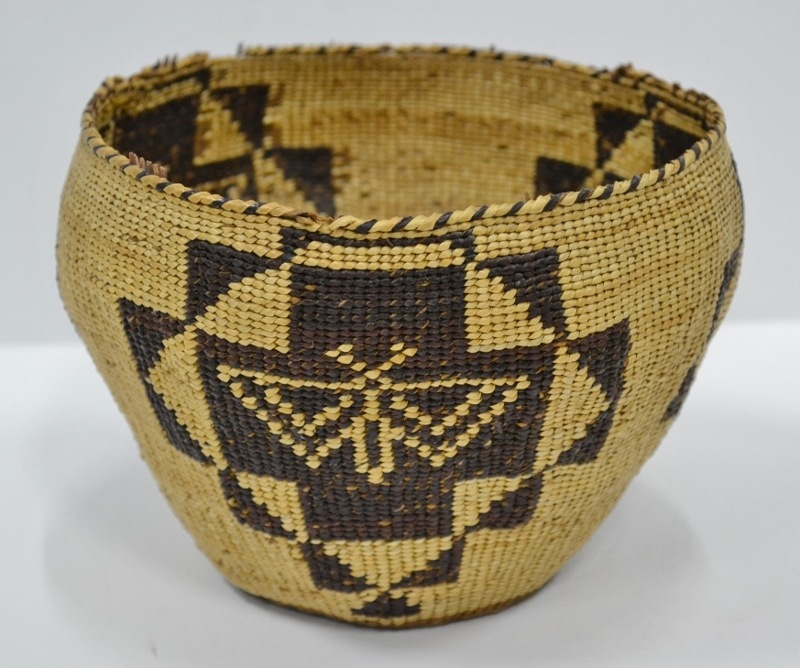 vintage woven baskets for sale native american pit river butterfly basket