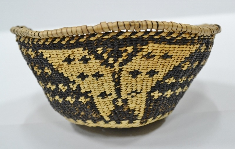 native american art pit river woven basket butterfly