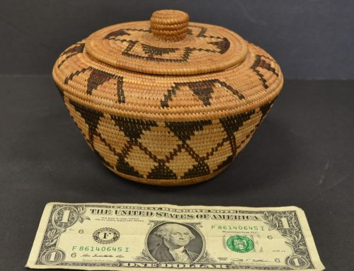 Native American Yokut Small Lidded Basket Circa 1920's Bew#853