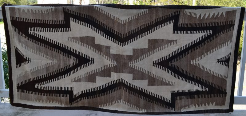 native american navajo woven rug with X circa early 1900's