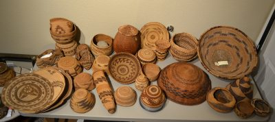 group of native american baskets