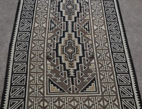 Native American Navajo Two Grey Hills Large Rug Circa 1940's Bew#896