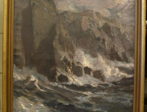 "Genuine Paul Dougherty Oil on Canvas Painting ""The Moonlit Cliffs"", Bew#900"