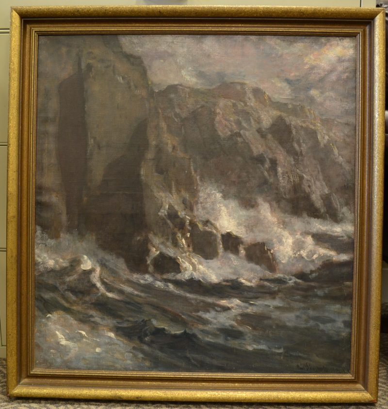 "genuine oil on canvas painting ""The Moonlit Cliffs"" by Paul Dougherty for sale in penryn, ca"