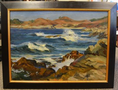 genuine paul dougherty untitled beach scene oil on canvas painting