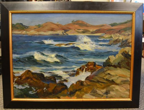 Genuine Paul Dougherty Untitled Beach Scene Oil on Canvas Painting, Bew#899