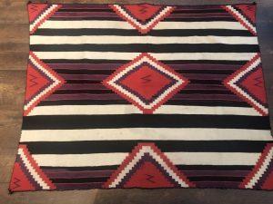 Excellent Germantown Navajo Rug Weaving for Sale Circa 1890s Red Mesa Gallery Image 001