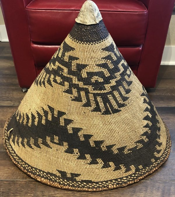 """A large Maidu/Cone Native American basket. It's in good condition with no visible rips or tears. Mesures 26"""" long by 23"""" wide and 21"""" tall"""