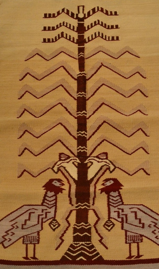 This article is about the history of navajo weavings/rugs beginning in the 1600s until now.