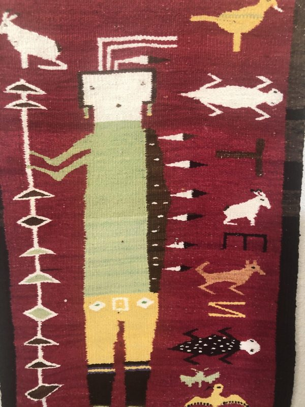 Here is an excellent Navajo Yei Humpback Pictorial rug. Figures include a rabbit, moth, eagle, horrny toad and the letters T E N.