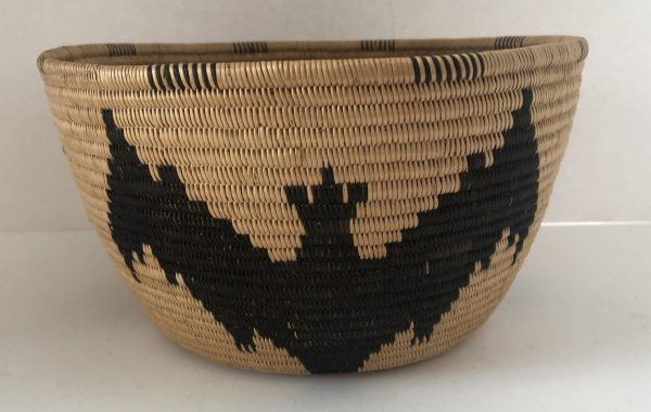 Native American Southern Panamint basket with bat design