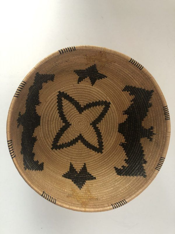 A very unique Native American Southern Panamint basket with a bat design on the inside and outside in excellent condition.