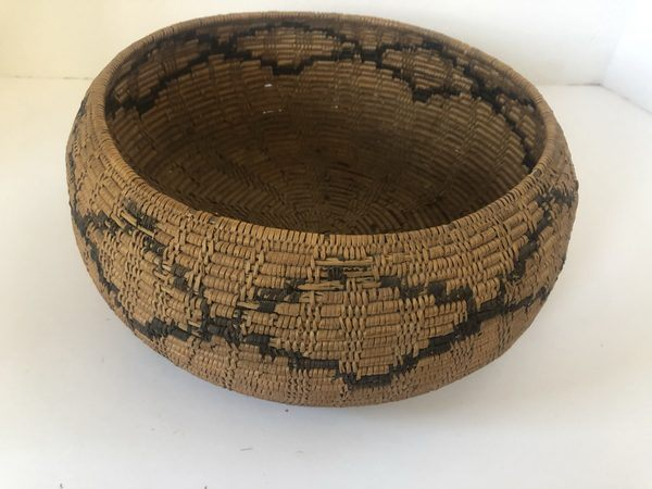 "Here is a very nice Native American Maidu basket for sale. It has a design that looks like diamonds. Measures 10"" Wide X 4"" Tall"