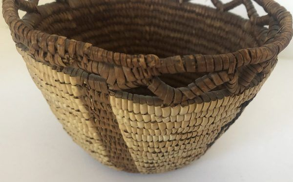 """Native American Northwest Coast basket with Four People figures. Measures 5 1/2"""" wide X 4"""" tall"""