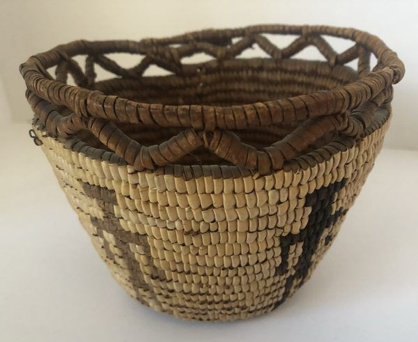 Native American Northwest Coast basket with Four People figures