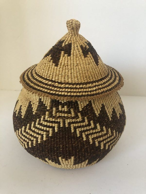 "A small Native American Pitt River lidded basket for sale. Measures 6 1/2"" wide X 4 1/2"" tall"