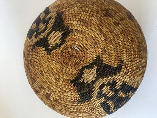 """This is a very nice Native American Mission basket. It has a design that includes birds. Measures 10"""" wide X 4 1/2"""" tall"""