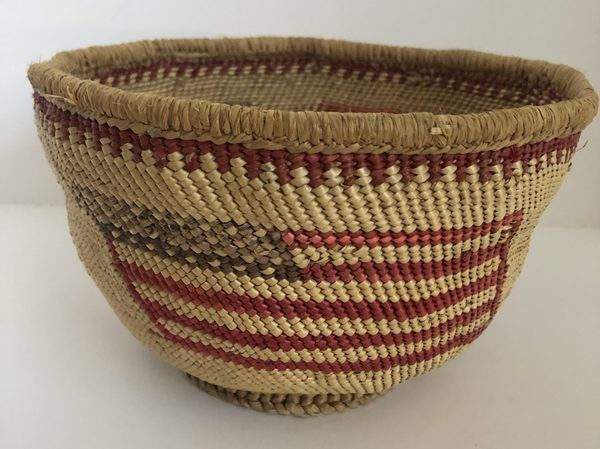 """Here is a neat Pacific Northwest basket with an American Flag design. Measures 7"""" X 5"""""""