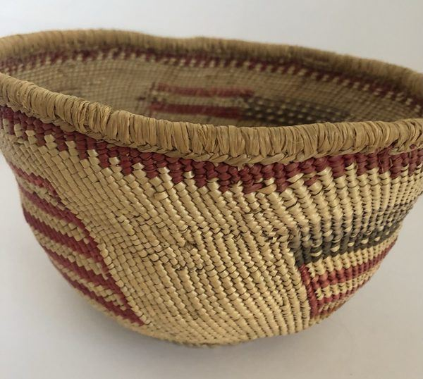 """A Pacific Northwest basket with an American Flag design. Measures 7"""" X 5"""""""