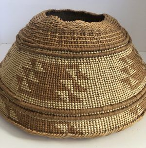 "A very nice Native American Hupa Area Mortar Hopper basket in very good condition. Call or email for additional pictures/information. Measures 15"" X 6"""
