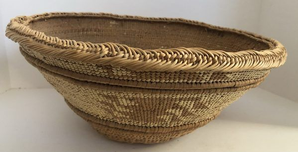"""A very nice Native American Hupa Area Mortar Hopper basket in very good condition. Call or email for additional pictures/information. Measures 15"""" X 6"""""""
