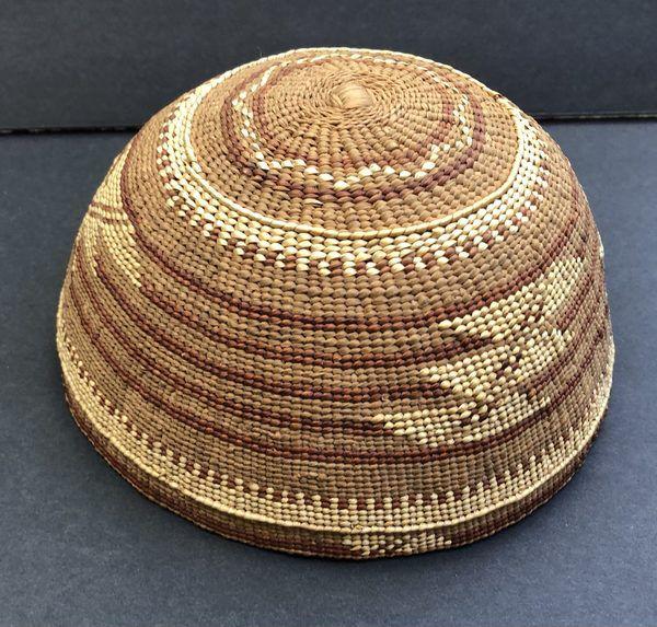 "1920s Hupa Karuk Yurok Basket Hat Circa 1900 to 1920s. Measures just over 7 1/4"" in diameter"