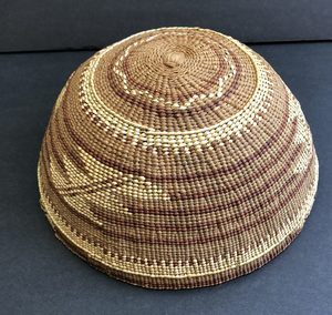 "Native American Hupa Yurok basket hat in excellent condition. Measures Just over 7 1/4"" in diameter"