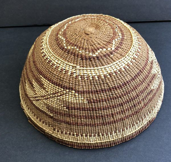 """Native American Hupa Yurok basket hat in excellent condition. Measures Just over 7 1/4"""" in diameter"""