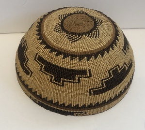 Hupa Hat circa 1910 This hat is in overall good condition though the rim does show some ethnographic wear (see pic.with tape measure)
