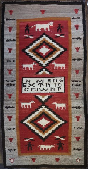 Navajo Pictorial Crown Point Rug with Cows and Goats