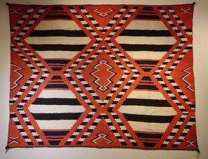 Navajo Third Phase Fourth Phase Chief's Blanket with connecting diamonds