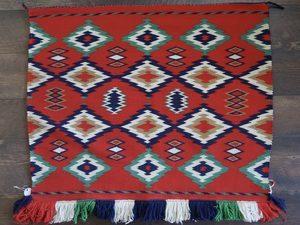 Circa 1890-1900 Navajo Fancy Saddle Blanket with Germantown Yarn