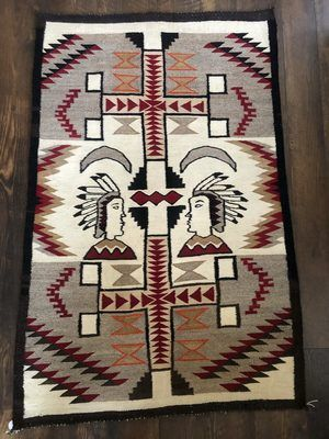 Navajo Pictorial Rug with Two Native Americans and Crosses